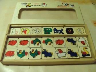 Houten domino/memory spel