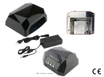 36 Watt UV LED lamp - 12W CCFL + 24W LED ZWART