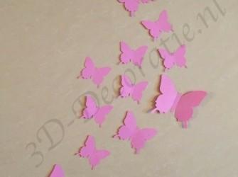 3D vlinders licht roze - Gratis verzending