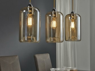 [Webshop] Hanglamp Harvey, 3 Lamps met kelken in amber kleu…