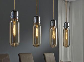 [Webshop] Hanglamp Shaquana, 4 Lamps cylinder in amber kleu…