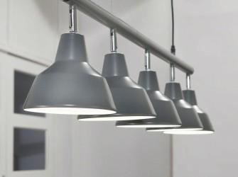[Webshop] Hanglamp Julio, 5 Lamps met tapse kappen, kleur g…