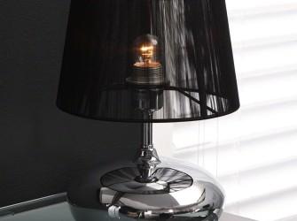 [Webshop] Tafellamp Takako 1 Lamps, chroom met zwarte kap