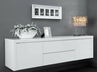 [Webshop] Hangend Dressoir Candice, kleur hoogglans wit
