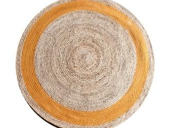 By-Boo Vloerkleed Jute Round 120 cm, kleur oranje