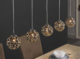 [Webshop] Hanglamp Katherin, 5 Lamps met bolvormen van chro…
