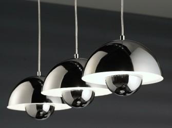 [Webshop] Hanglamp Regine, 3 Lamps met halfronde chrome kap…