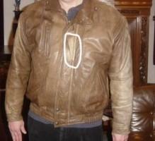 Leren Jack Bruin, Kleur foutje (zie foto); maat 50 Motor ja…