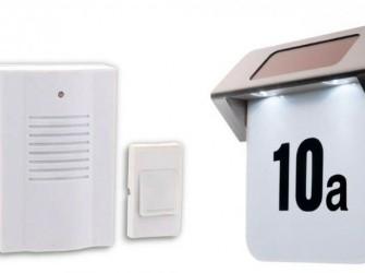 RVS Solar Huisnummer verlichting + draadloos deurbel