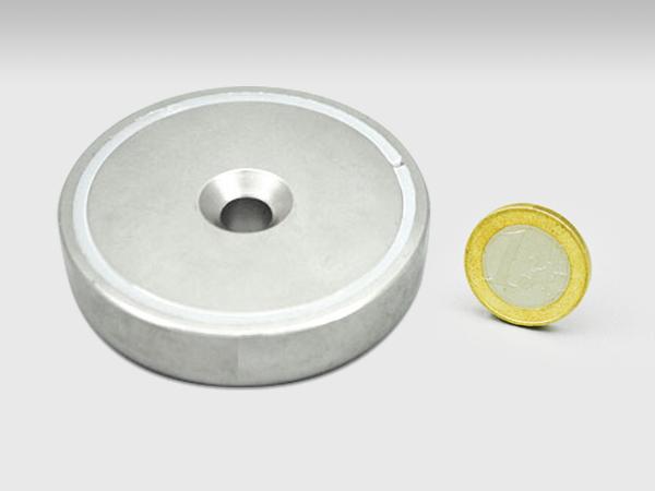 Neodymium POTMAGNEET 75x20mm met boor-/verzinkgat