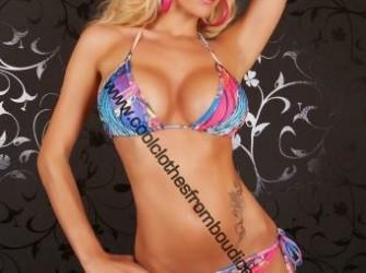 Bikini tattoo style rhinestones roze blauw geel bl