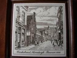 Noordwijk; tegeltje in lijst Kerkstraat Noordwijk - Binnen…