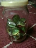 6 glazen potten knikkers