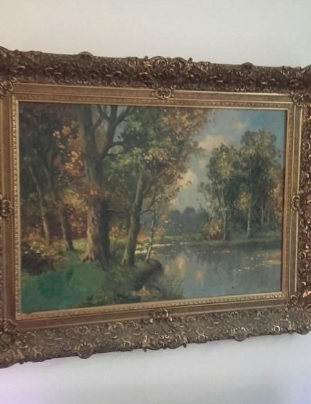 Landschapsschilderij in klassieke lijst te koop aangeboden