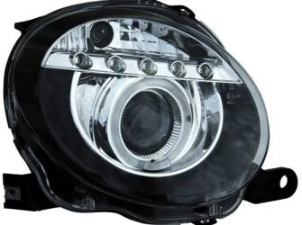 Koplampset Fiat 500 8/07- Black + HaloRim