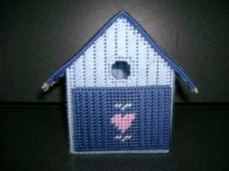 zelfgemaakte opberg bakje model vogelhuisje