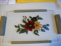 Brocante Dienblaadje met Achterglasschildering,(adv.088)