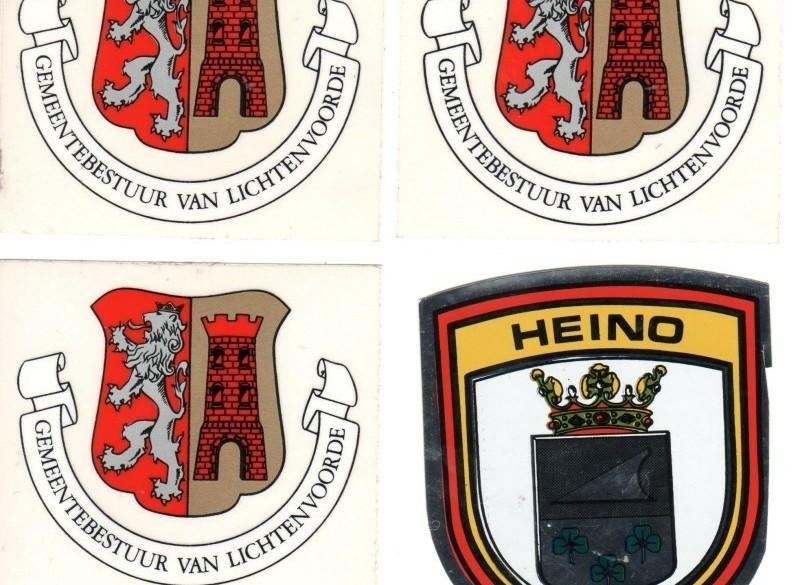 4 autostickers Nederland,Heino,Lichtenvoorde(3x),NW