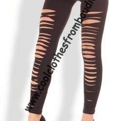 Legging lycra ripped look zwart dance disco party