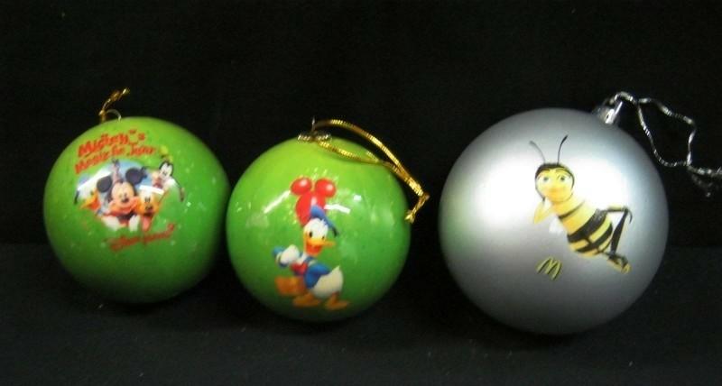 3 verzamel kerstballen 2 Disney groen/1 MacDonalds zilver,N…