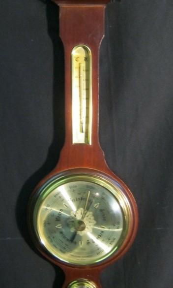 Klass. Banjo Baro-/hygro-/ thermometer,noten,nst,53.5 cm h