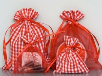 stoffen zakjes met kleine ruitjes rood/wit