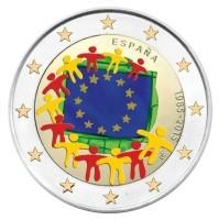 Spanje 2 Euro 2015 30 jaar Europese vlag Gekleurd