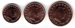 Luxemburg 1 cent en 2 cent en 5 Cent 2015
