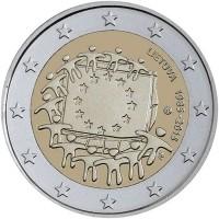 Litouwen 2 Euro 2015 30 jaar Europese vlag
