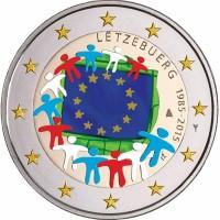 Luxemburg 2 Euro 2015 30 Jaar Europese Vlag gekleurd