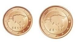 Estland 1 cent 2012 en 2 cent 2012