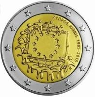 Cyprus 2 Euro 2015 30 Jaar Europese vlag