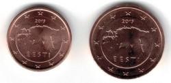 Estland 1 cent 2015 en 2 cent 2015 UNC