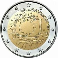 Frankrijk 2 Euro 2015 30 Jaar Europese Vlag