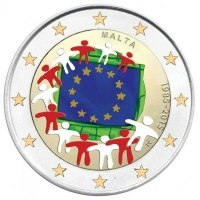 Malta 2 Euro 2015 30 Jaar Europese vlag Gekleurd