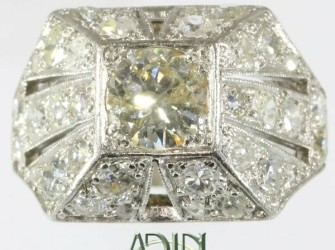 Art Deco cocktail ring met diamant