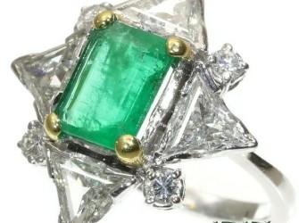 Verlovingsring met smaragd en diamant