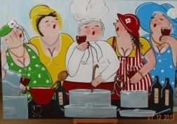 schilderij vrolijke dikke dames