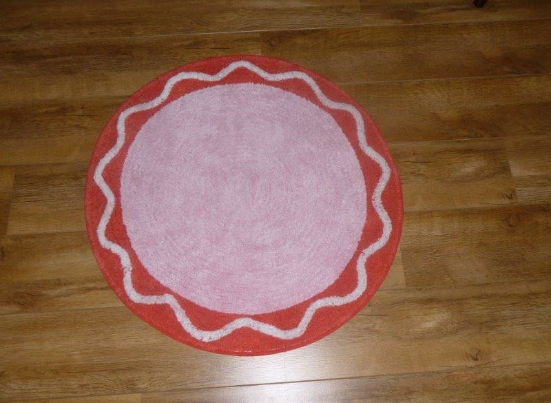 Roze rood wit ronde vloermatten, 2 stuks