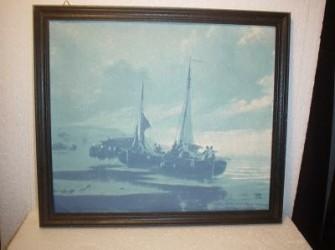 viskotters op strand, inkttekening/schilderij op doek.