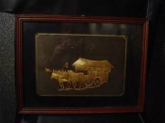Reliefschilderij gemaakt van riet. Indonesie jaren ´30