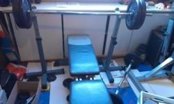 Fitnessbank, stangen, gewichten(alles voor €300 of goed bod…