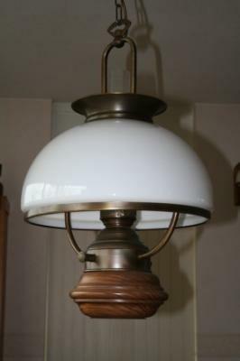 Mooie hanglamp, Met hout, brons en glas.