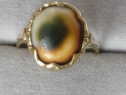 Gouden Damesring met steen[Mattabiak]= schelp