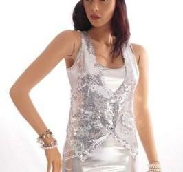 zilver metallic look latex minidress