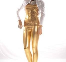 party outfit goud wit top legging bolero zilver