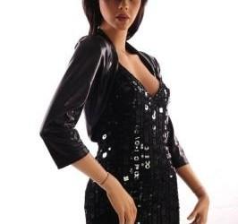 jurk pailetten zwart met latex look bolero