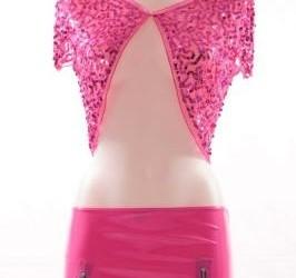 roze latex mini skirt met roze bolero pailetten