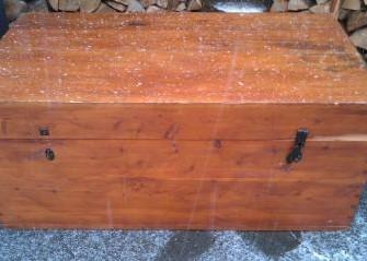 Grote vintage hardhouten dekenkist hutkoffer schee