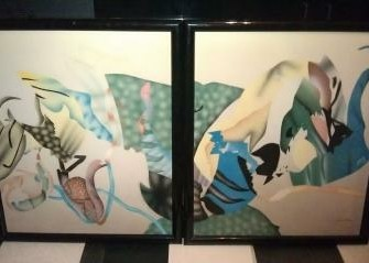 Modern abstract figuratief tweeluik schilderij